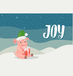 piglet symbol of new year with gift box winter vector image