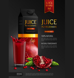 Pomegranate realistic advertising composition vector