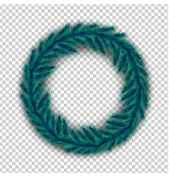 realistic christmas wreath of pine spruce branches vector image