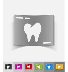 realistic design element picture tooth vector image