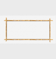Rectangle brown bamboo wooden border frame with vector