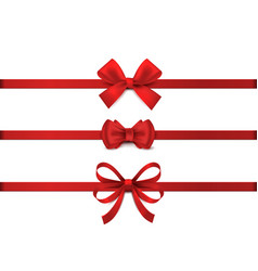 red realistic bow horizontal red ribbon vector image