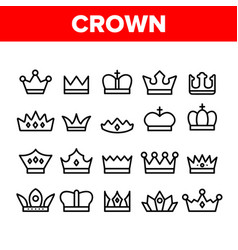 royal headwear crowns and tiaras icons set vector image