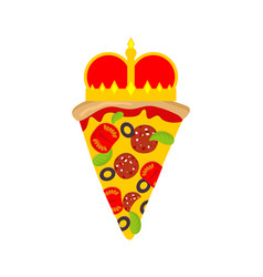 Royal pizza with crown sign vector