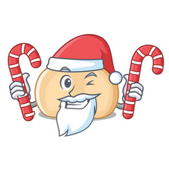 santa with candy chickpeas mascot cartoon style vector image