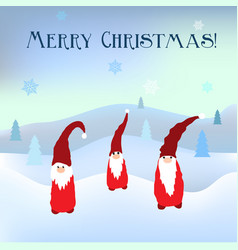 scandinavian christmas gnomes in winter background vector image