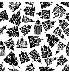 Seamless churches temples cathedrals pattern vector image