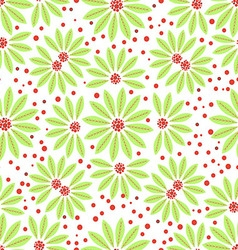 Seamless flowers green and red berries on white vector image