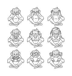 see no evil hear no evil speak no evil apes vector image