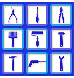 Set of 9 retro blue workers tools vector image