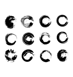 Set of Black Grunge Circle Stains vector image