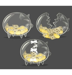 Set of glass piggy banks vector