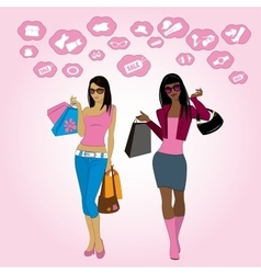 shopping girls and icons vector image