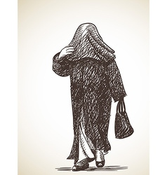 sketch muslim woman walking with head full covered vector image
