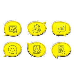 Smile analytical chat and recovery hdd icons set vector