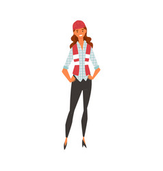 smiling female building worker character with red vector image