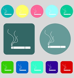 Smoking sign icon cigarette symbol 12 colored vector