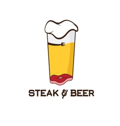 Steak and glass of beer design template vector