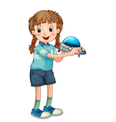 Student girl cartoon character holding a ufo model vector