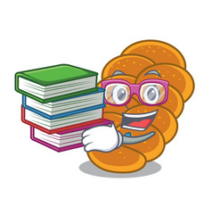Student with book challah mascot cartoon style vector