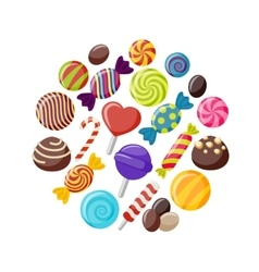 Sweet Candies Flat Icons Set vector image