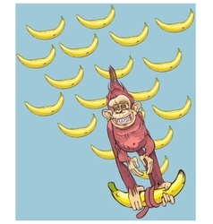 The symbol of year - a monkey with bananas vector