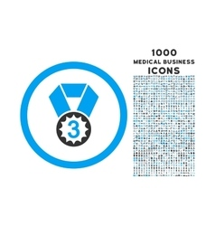 Third Place Rounded Icon with 1000 Bonus Icons vector