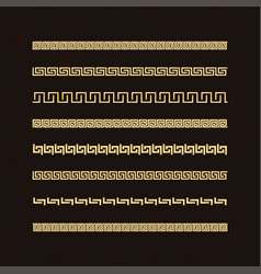 Traditional simple meander golden border on d vector