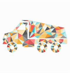 truck colored triangles isolated object vector image