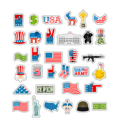 usa sticker set national sign of america american vector image