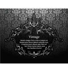 Vintage silver floral frame vector