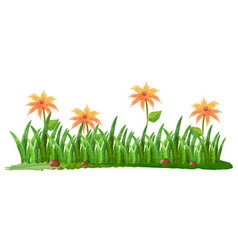 Watercolor painting of flowers in garden vector