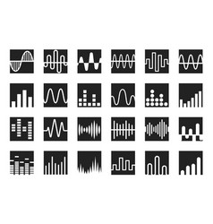 waves icon set sound wave music and radio wave vector image