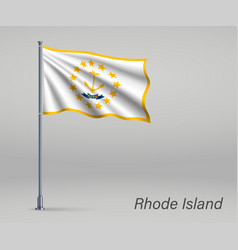 Waving flag rhode island - state united vector