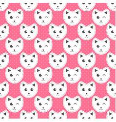 White cats on pink background with dots vector