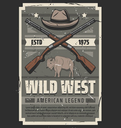 wild west american legend sheriff hat and rifles vector image