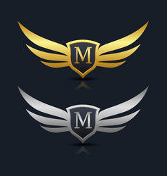 Wings shield letter m logo template vector