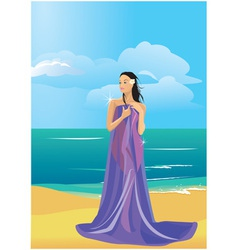 wrapped in a towel on beach vector image