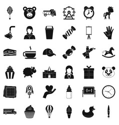 childish center icons set simple style vector image