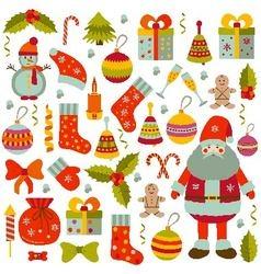 Christmas flat elements set vector image vector image