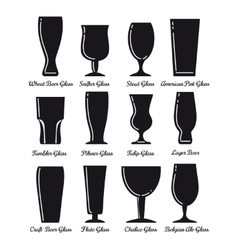 Flat beer glasses black icons vector image vector image