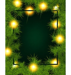 Frame of fir branches and lights vector image vector image
