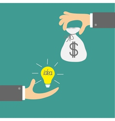 Hands with idea bulb and money bag Exchanging vector image vector image