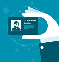 Stylized business card in hand vector image vector image
