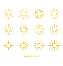 sun symbol icon set vector image