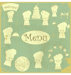 Vintage cover Menu with Chefs vector image vector image