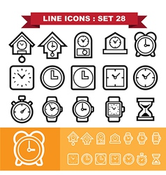 Clock line icons set 28 vector image