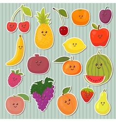 Cute cartoon fruits healthy food vector image