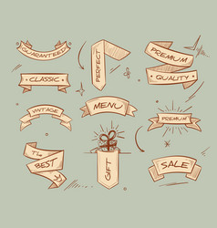 doodle retro ribbon banners with hand drawn retail vector image