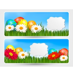 Easter banners with Easter eggs and colorful vector image vector image